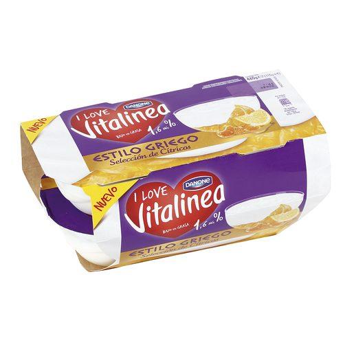 DANONE VITALINEA yogur estilo griego selección de cítricos pack 4x115 gr