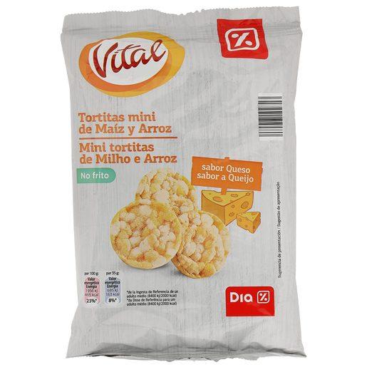 DIA tortitas mini de maiz y arroz sabor queso paquete 75 gr