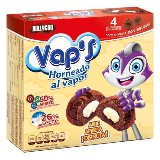 BOLLYCAO Vap`s bizcochito de chocolate esponjoso relleno 4 uds caja 140 gr