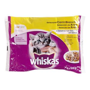 WHISKAS alimento para gatos junior en gelatina aves bolsa 4 x 100 gr