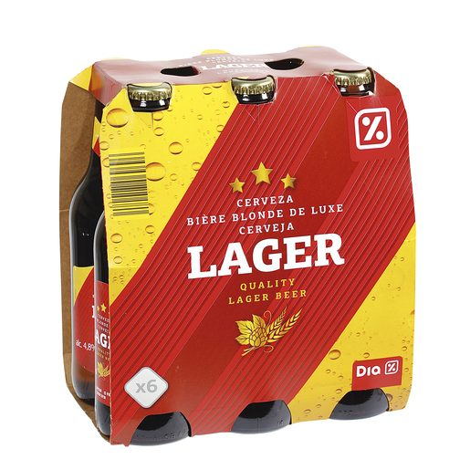 DIA cerveza rubia lager pack 6 botellas 33 cl