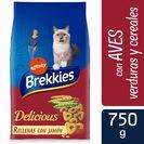 BREKKIES Delicious alimento para gatos selección de aves y verduras bolsa 750 gr