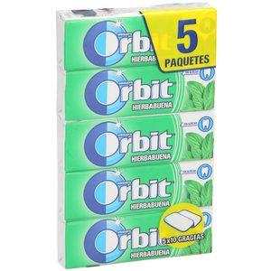 ORBIT chicle grageas sabor hierbabuena paquete 5 uds