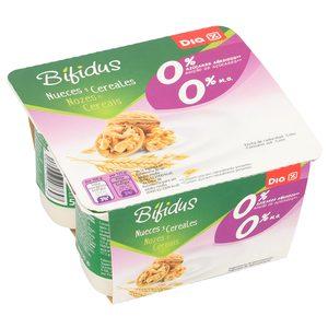 DIA bífidus con nueces y cereales 0% M.G pack 4 unidades 125 gr