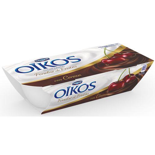 DANONE OIKOS yogur griego fondue de cereza pack 2 unidades 115 gr