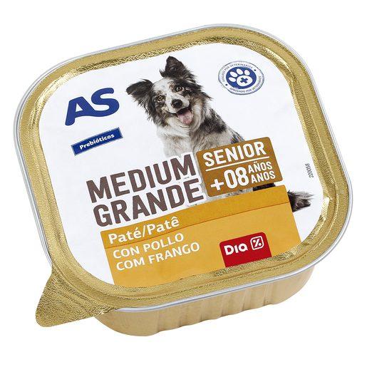 AS paté para perros senior rico en pollo con verduras tarrina 300 gr