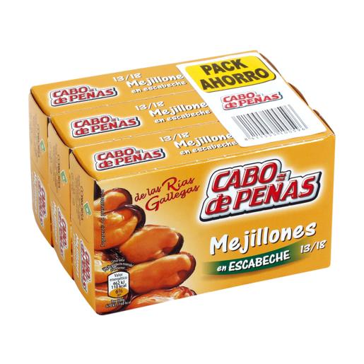 CABO DE PEÑAS mejillones en escabeche 13/18 piezas lata pack 3 x 63 gr