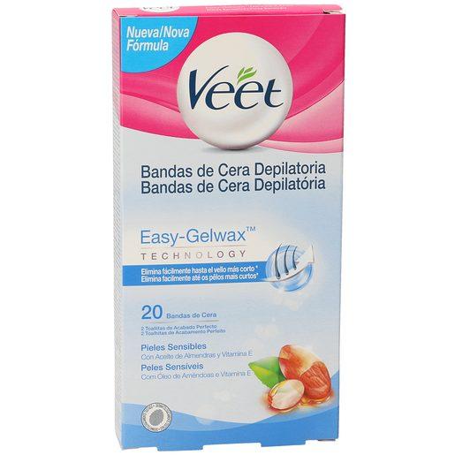 VEET Easy gelwax bandas de cera depilatoria piel sensible caja 20 uds