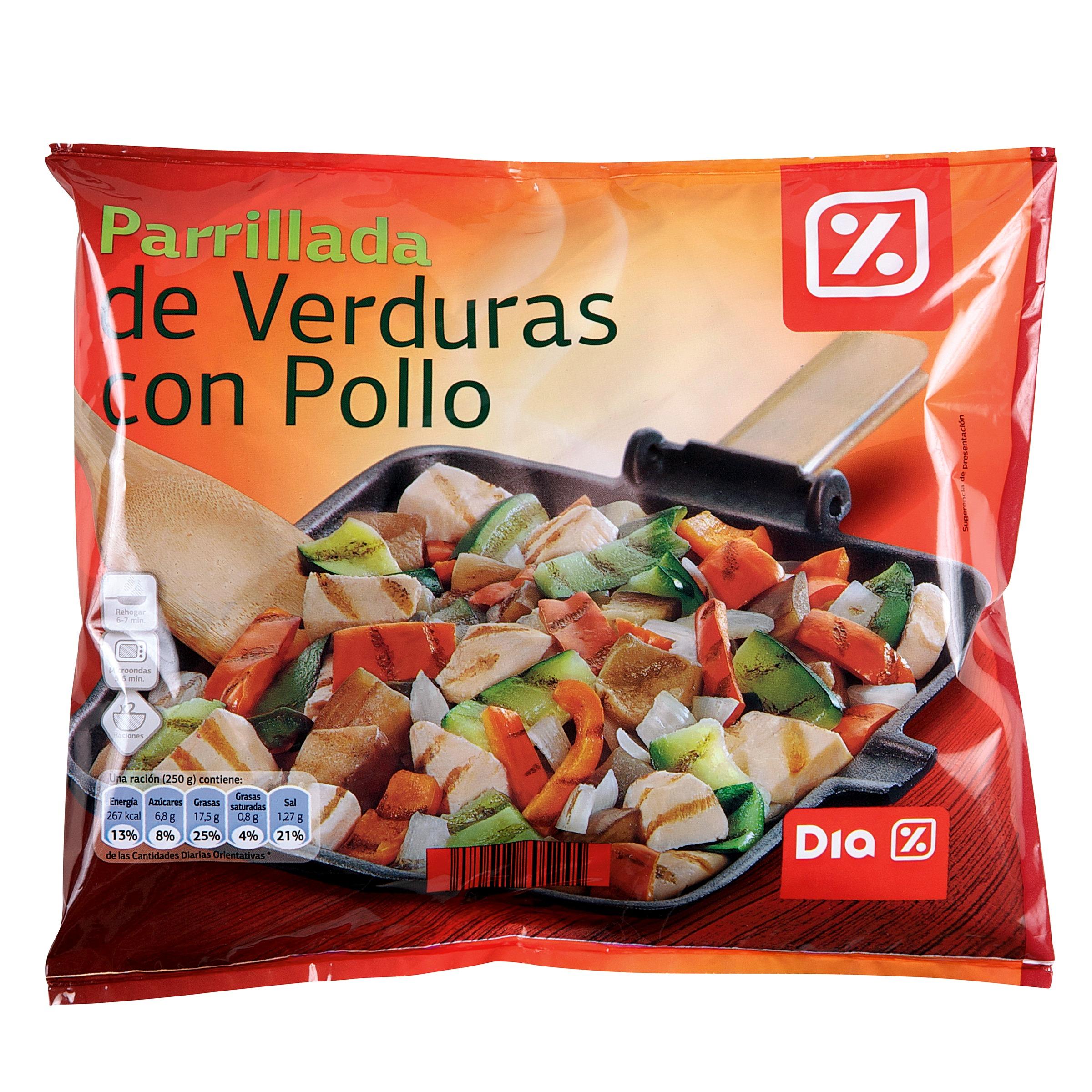 Dia parrillada de verduras con pollo bolsa 500 gr base for Parrillada verduras