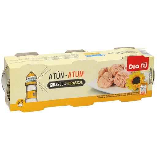 DIA atún en aceite de girasol pack 3 latas de 52 gr