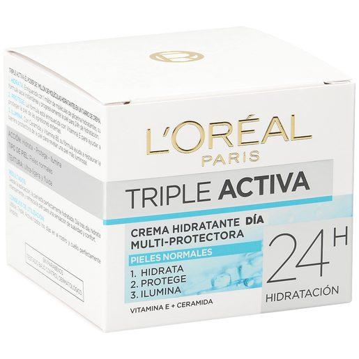 L'OREAL crema facial de día triple activa piel normal tarro 50 ml