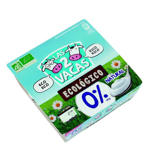 LAS 2 VACAS yogur natural desnatado 0% M.G. pack 4 unidades 115 gr