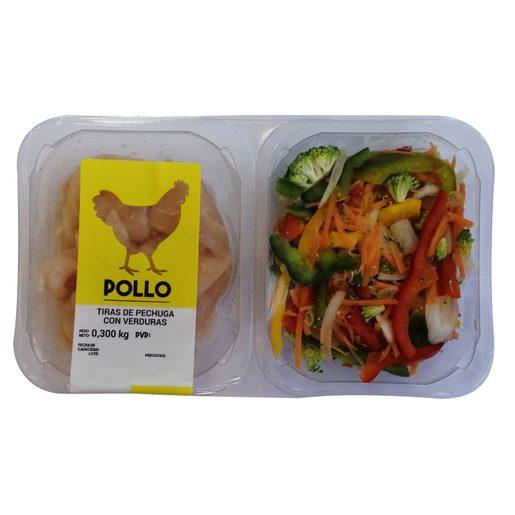 Tiras de pechuga de pollo con verduras bandeja 300 gr