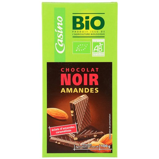 CASINO BIO chocolate negro con almendras tableta 100 gr
