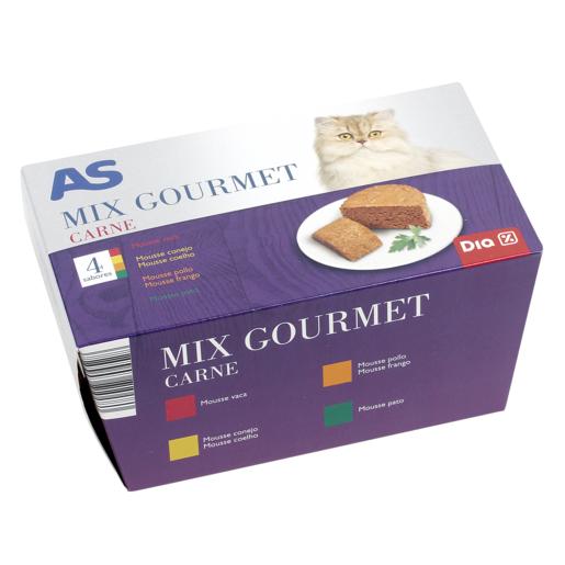 AS Mix gourmet alimento para gatos con carne tarro 4 x 85 gr