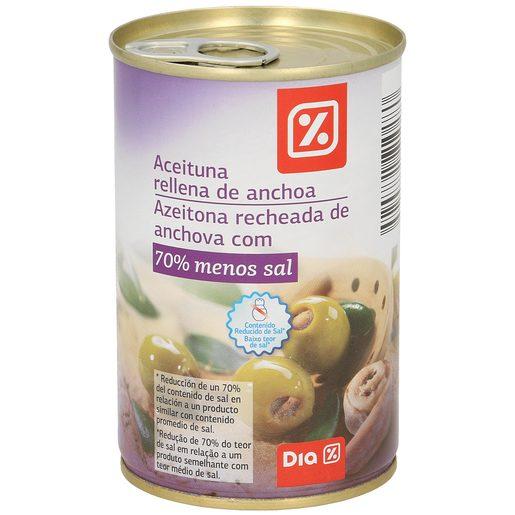 DIA aceitunas rellenas de anchoa 70% menos de sal lata 130 gr