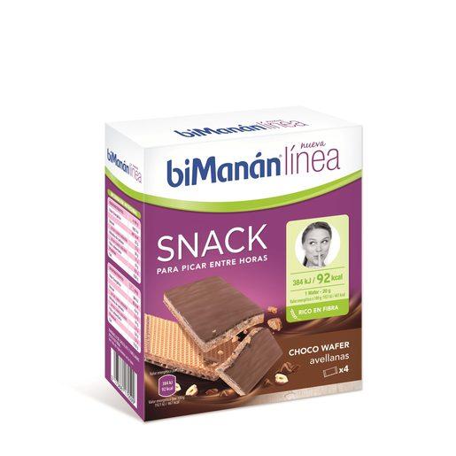 BIMANÁN snack choco wafer con avellanas caja 4 uds