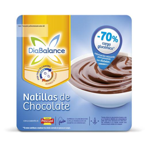PASCUAL DIABALANCE natillas sabor chocolate pack 4 unidades 100 gr