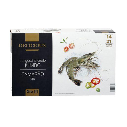 DIA DELICIOUS langostino crudo jumbo 14/21 piezas caja 700 gr