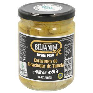 BUJANDA corazones de alcachofas de tudela enteras extra 8/12 piezas frasco 250 gr