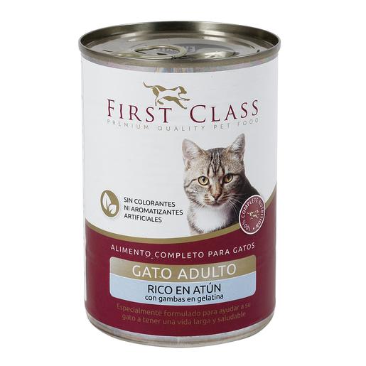 FIRST CLASS alimento para gatos en gelatina rico en atún con gambas 400 gr