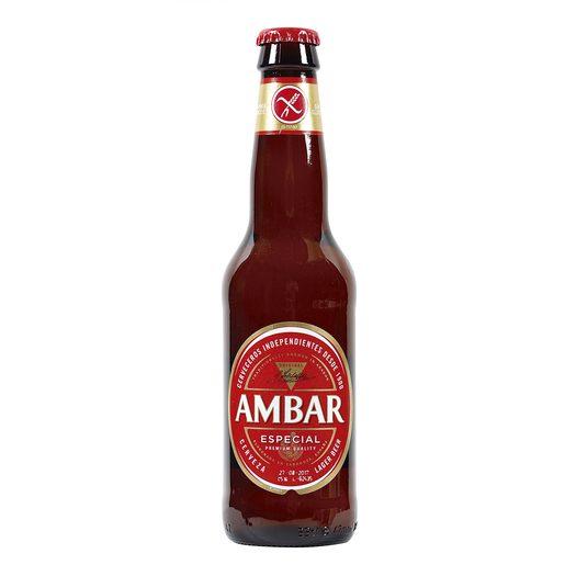 AMBAR cerveza SIN GLUTEN botella 33 cl