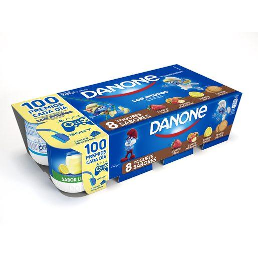 DANONE yogur fresa-macedonia-limón-galleta pack 8 unidades 125 g