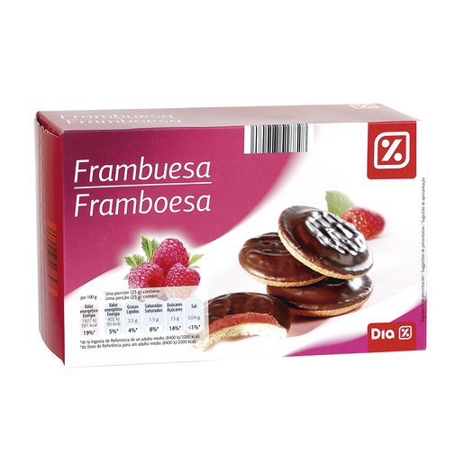 DIA galleta cake rellena de frambuesa caja 300 gr