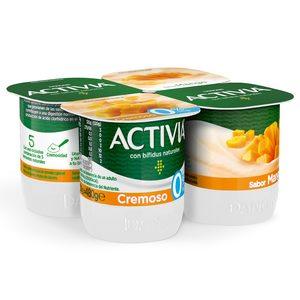 DANONE ACTIVIA bífidus cremoso de mango 0% M.G pack 4 unidades 120 gr