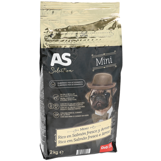 AS Selection alimento para perros mini rico en salmón bolsa 2 Kg