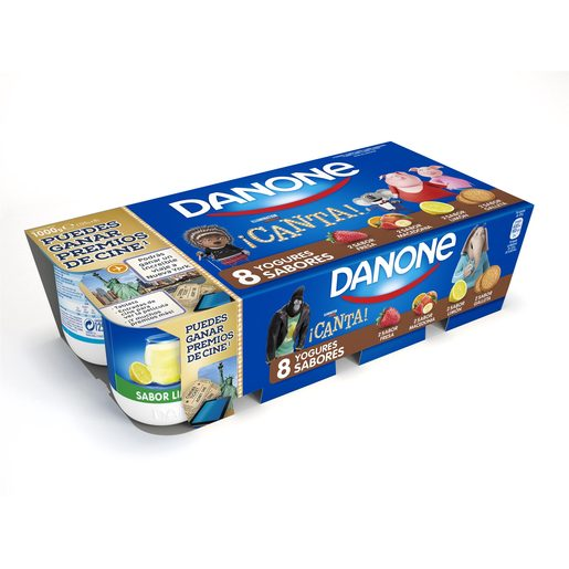DANONE yogur fresa-macedonia-limón-galleta pack 8 unidades 125 g