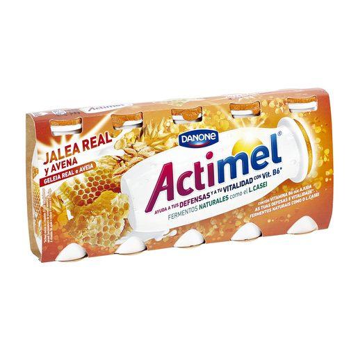 DANONE ACTIMEL yogur líquido jalea real y avena pack 5 unidades 100 gr