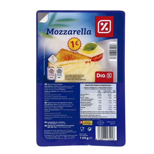 DIA queso mozzarella en lonchas envase 120 gr