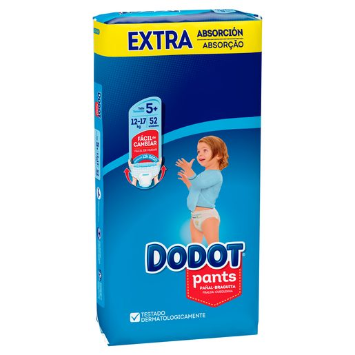 DODOT Pants pañales 12-17 kg talla +5 paquete 52 uds