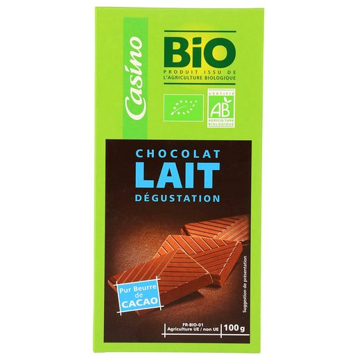 CASINO BIO chocolate con leche tableta 100 gr