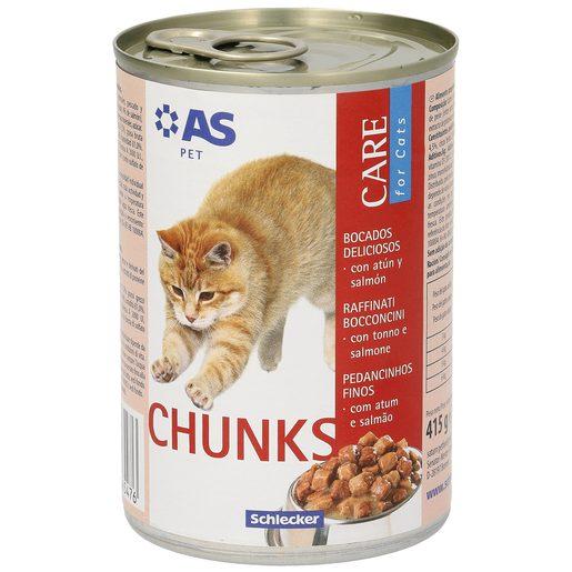 AS alimento para gatos bocados deliciosos con atún y salmón lata 415 gr