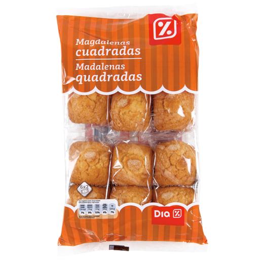 DIA magdalenas cuadradas envasadas individualmente bolsa 380 gr