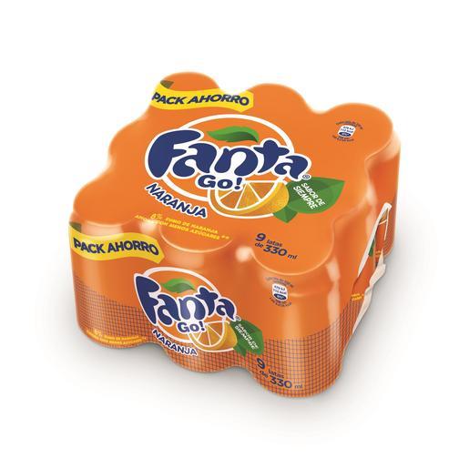 FANTA naranja pack 9 latas 33 cl
