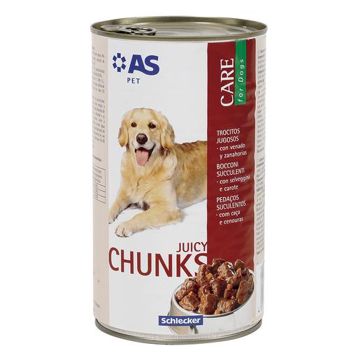 AS trocitos jugosos para perros con venado y zanahorias lata 1.240 Kg