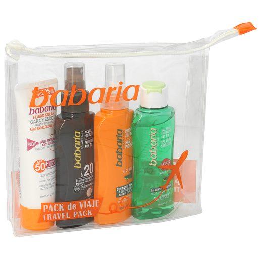 BABARIA pack fluido solar spf 50 + bálsamo after sun + aceite + capilar formato viaje