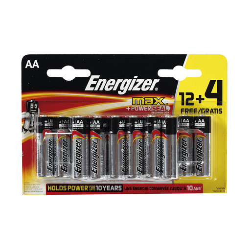 ENERGIZER pila alcalina AA blíster 12 + 4 uds