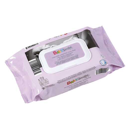 BABYSMILE toallitas con crema hidratante para bebés envase 72 uds