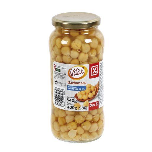 DIA VITAL garbanzos cocidos muy bajo contenido en sal frasco 400 gr