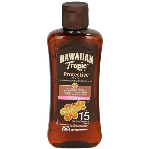 HAWAIIAN TROPIC aceite solar seco protección media spf 15 bote 100 ml