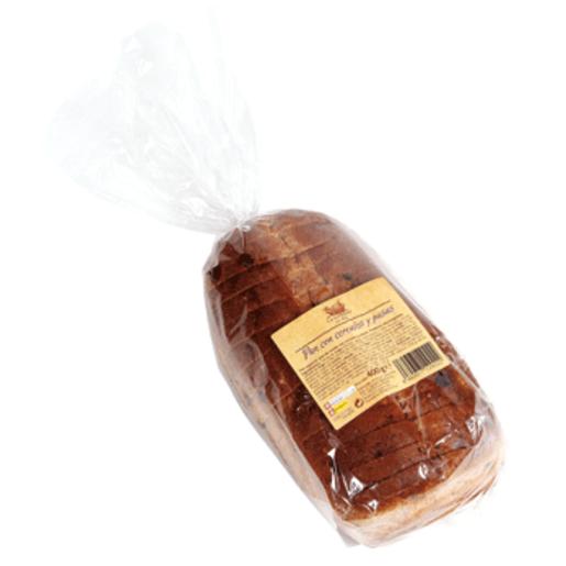 Pan con cereales y pasas bolsa 400 gr