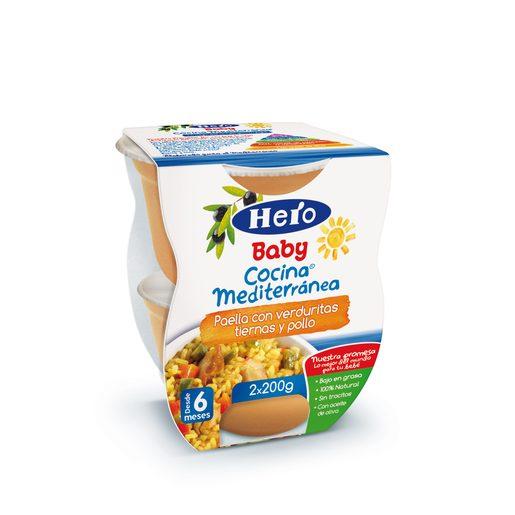 HERO Baby cocina mediterránea paella,verduras y pollo tarrito 2x200 gr