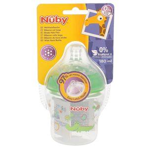 NUBY biberón boca ancha tetina anticolicos +0 meses 180 ml (diferentes colores)