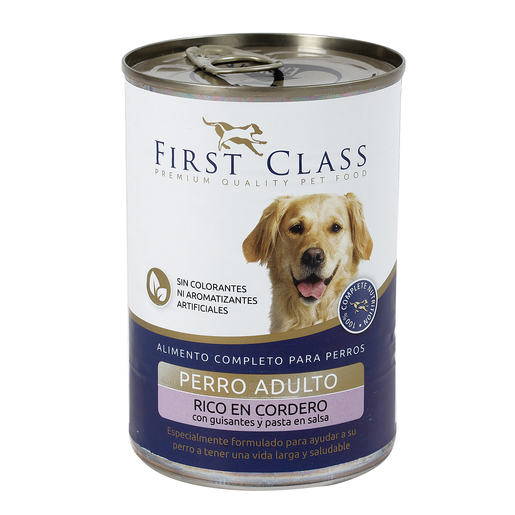 FIRST CLASS alimento para perros rico en cordero con guisantes y pasta 400 gr