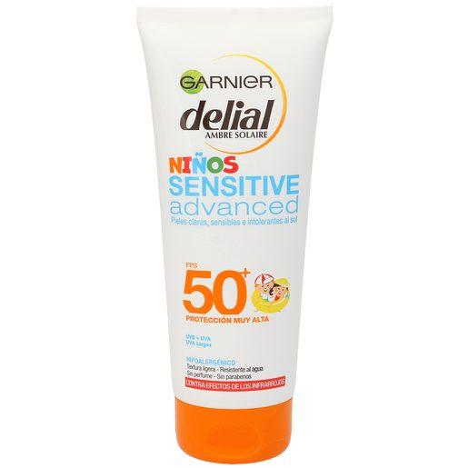DELIAL Sensitive advanced leche solar spf 50+ para niños tubo 200 ml