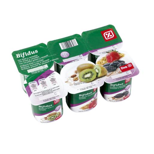 DIA yogur bífidus ciruela/muesli/fresa/cereales/ kiwi/fibra pack 6 x 125 gr